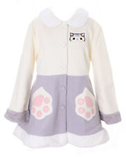 TS-81 Weiß Grau Katze Pfote Lolita Woll-Jacke Mantel Pastel Goth Harajuku Japan
