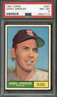 1961 TOPPS #357 DARYL SPENCER PSA 8 NM-MT CARDINALS NICELY CENTERED  *K1328