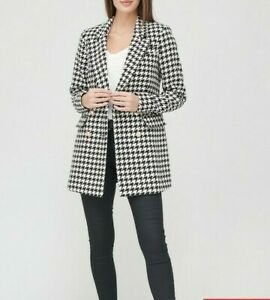 JACKET LONG LINE UK 14 BY VERY HOUNDS TOOTH BLACK & WHITE MILITARY STYLE BNWT