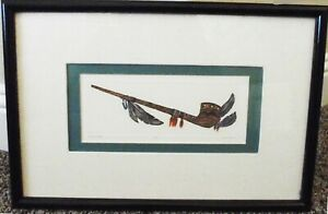 DAN MITRA ARTIST PROOF PEACE PIPE NATIVE AMERICAN HAND COLORED ENGRAVING FRAMED
