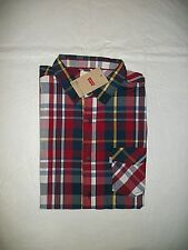 New Levi's Men's Short Sleeve RED Plaid Button Front Shirt w/ Pocket Size LARGE