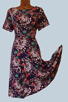 NEW MONSOON BLUE PEACH FLORAL VINTAGE STYLE TEA  DRESS8 10 12 14 16 18 20 22