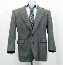 Haggar Imperial Mens Gentlemens Fit Size 42 Herringbone Sports Coat Black Button