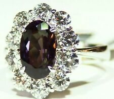 GIA Certified 4.73CT Platinum Natural Brazilian Alexandrite Diamond Vintage Ring