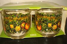 "70's Libbey ""BONNE SANTE"" Vegetable Pattern Small Tumbler Juice Glass 3""tall"