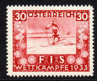 Austria 30 Groschen Winter Sports Stamp c1933 (Jan) Mounted Mint Hinged (7649)