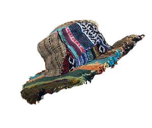 Unisex Eco Hemp Cotton Wire Rim Festival Hippie Frayed Patchwork Sun Beach Hat