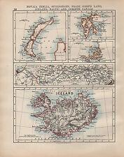 1902 MAP ~ Islanda ~ canale di Corinto Francesco Giuseppe LAND Spitzberg novaia zemlia