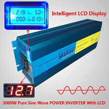 3000W Peak 6000W Car Pure Sine Wave power inverter DC 12V TO AC 230V 240V Solar