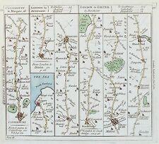 Old antique road map c1782 par carrington/bowles canterbury hitchin salisbury