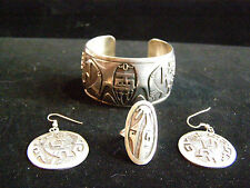WES GRAY Navajo Kokopeli Story Teller Sterling Cuff Bracelet, Ring & Earring Set