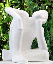 Gartenfigur Träumer Weiss Steinfigur Skulptur Mensch Gartendeko  frostfest