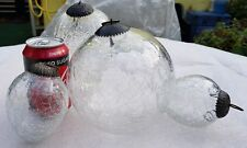Set of 4 Clear Glass (heavy) Baubles Balls Kugel German Cap vintage antique