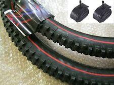 """2 x Mountain Bike Tyre 26"""" 26 x 2.35 RALEIGH REDLINE EXTREME Tyres Pair + Tubes"""