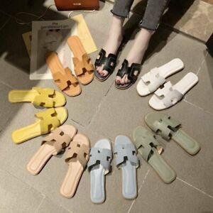 Women Oran Flat Beach Sandals Slippers Ladies Leather Sandals Slip On Sliders UK