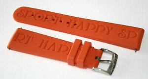 Chopard Happy Sport Kautschukarmband Orange mit Dornschließe Anstoß 19 mm NEU