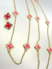 18kt Gold Plated Pink Lacquer Enamel Clover Clovers Long Necklace Earrings Set
