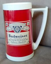 BUDWEISER BEER THERMO SERV MUG TUMBLER DRINKING PLASTIC CUP RETRO RARE VINTAGE