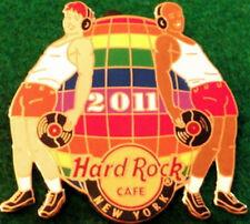 Hard Rock Cafe NEW YORK 2011 GAY PRIDE PIN Rainbow Disco Ball & 2 Guys MINT NEW!