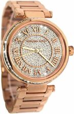 NEW MICHAEL KORS SKYLAR ROSE GOLD TONE+PAVE CRYSTALS DIAL,ROMAN #'S WATCH-MK5868