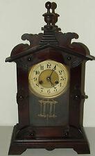 Antique Working 19th C. JUNGHANS Gothic Walnut German Parlor Mantel Shelf Clock