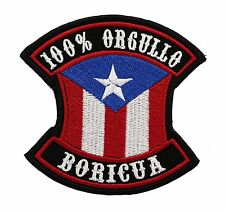 Puerto Rico Flag 100% ORGULLO BORICUA Embroid MC PATCH
