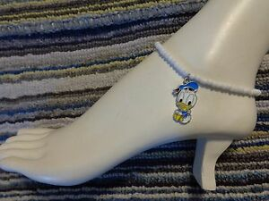 Baby DONALD DUCK enamel charm ankle bracelet beads anklet stretchy beach