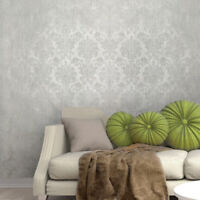 Non woven Wallpaper roll white gray silver Metallic textured Victorian damask 3D