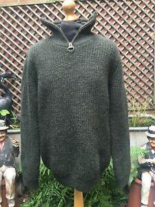 Barbour MKN0790OL51chunky knit Shetland wool olive jumper men's L