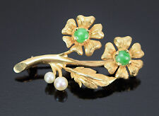 Vintage 14k Solid Gold Flower Brooch Pin w Pearls and Jade Cabochons