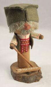 Vintage Kopaonik Wooden Figure Mustachioed Serbiana Kitsch Folk Art