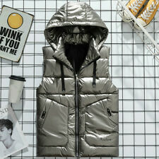 Men's Gilet Metallic Color Puffer Waistcoat Jacket Down Coat Hooded Vest Glitter