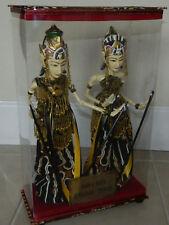Pair of 2 Indonesian Wayang Golek Wooden Stick Puppet Dolls