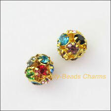 6 New Charms Round Ball Loose Spacer Beads Colored Crystal Gold Plated 8mm
