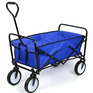 80kg Blue Foldable Garden Trolley Wheelbarrow Trailer Hand Cart Wagon on wheels