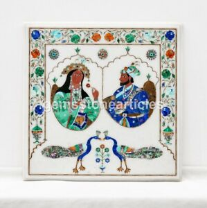 Square Marble Coffee Table Top Shahjahan Mumtaz Mughal Love Stone Art Gift Décor