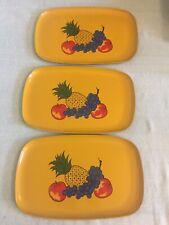 3 Vintage Fiberboard Trays Plates Platters Fruit Mustard Yellow Pineapple Grape