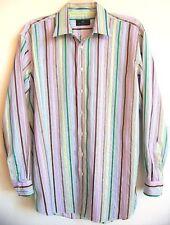 ETRO Milano Men's 43 Dress-Casual 100% Cotton Multi-Color Stripe Shirt XL (17)