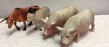 Vintage Toy Farm Animals Pigs Bull Sheep 1986 1987