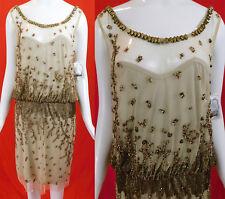 Vintage Alberto Makali Designer Gold Beaded Beige Mesh Net Cocktail Dress NWT