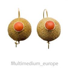 Silber vergoldet Koralle Ohrringe byzantinischer Stil coral earrings 🌺🌺🌺🌺🌺