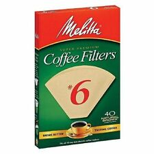 Melitta Premium #6 Cone Paper Coffee Filters Natural Brown, 40 Count - 6 Pack