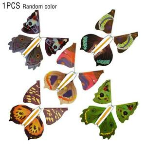 Magic Flying Clockwork Butterfly Toy Birthday Card Wedding Prank F1X7