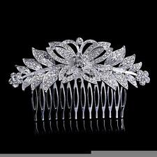New Bridal Butterfly Flower Hair Combs Sparkly Crystal Wedding Slide Clip Tiara