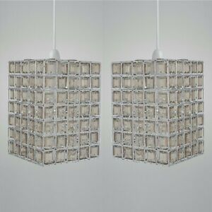 Set Of 2 Crystal Style Smoke & Clear Acrylic Jewelled Easy Fit Ceiling Light Sha