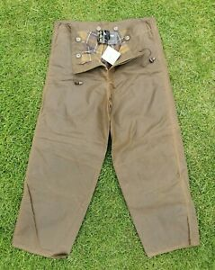 L640 Barbour Mens A839 Sylkoil Olive Wax Cotton Overtrousers, Medium