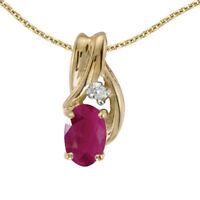 """10k Yellow Gold Oval Ruby And Diamond Pendant with 18"""" Chain"""
