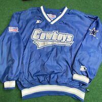 VTG NFL Starter Pro Line Dallas Cowboys Pullover windbreaker Jacket Sz Large