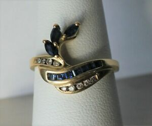 .40 cttw Sapphire & .08 cttw Diamond 14k Solid Yellow Gold Ring Guard ~ Sz 7