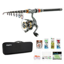 Telescopic Spinning Fishing Rod Reel Kit Set Combo+100M Fishing Line Lures Bag